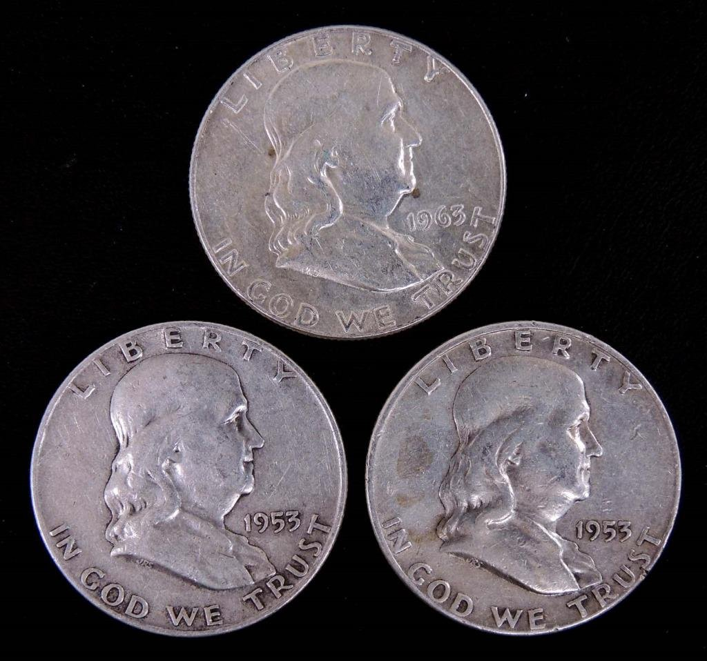 3 Franklin Half Dollars