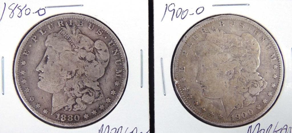 1880-o and 1900-o Morgan Silver Dollars (2)
