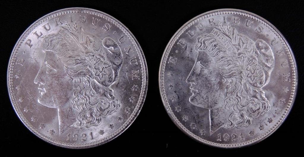 1921 & 1921 - d Morgan Silver Dollars (2)