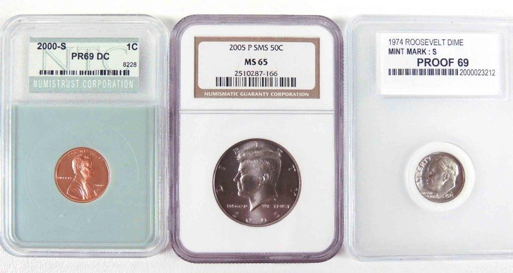 1974, 2000-s, 2005-p, Graded Coins (3)