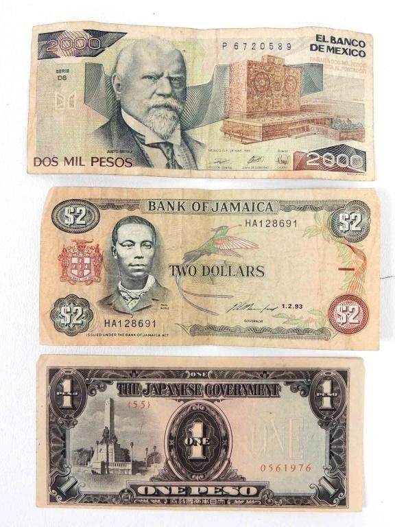 Mixed Foreign Paper Currency and Coins