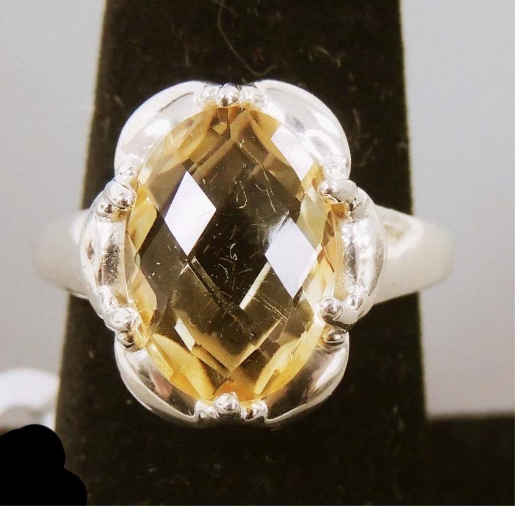 Natural Cushion Cut Citrine Gemstone Ring