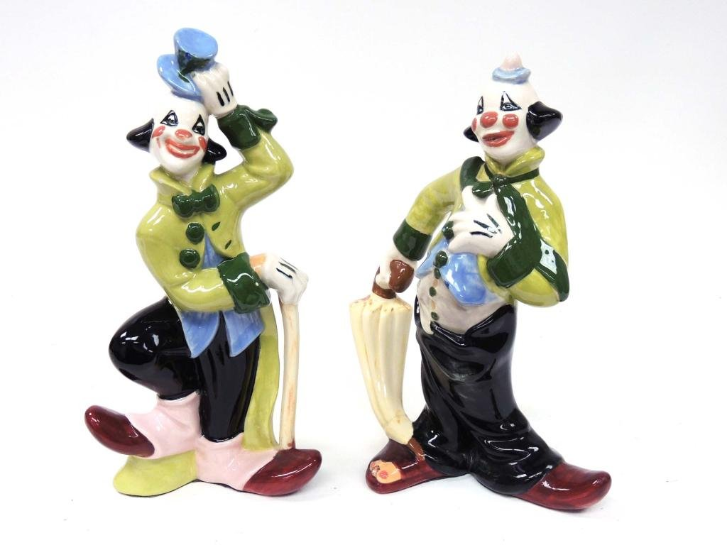Ceramic Clowns - Italy, Enesco - Lot of 5