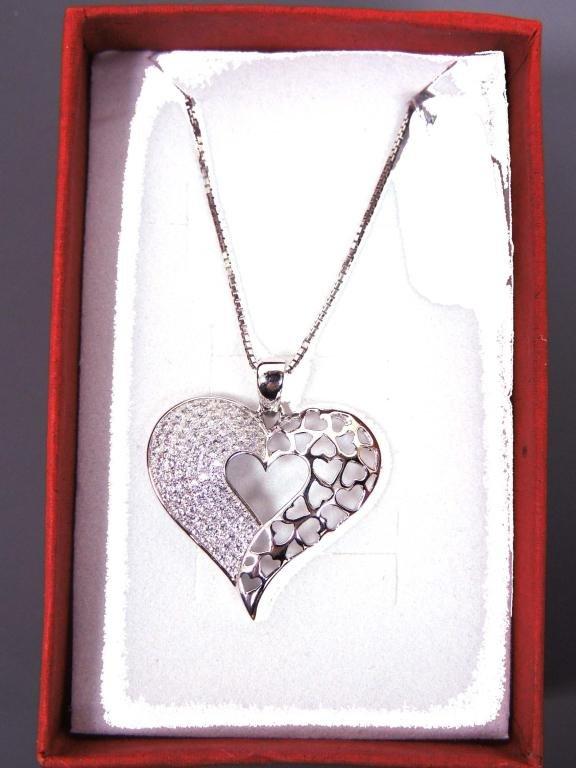Half Filigree & Crystal Heart Necklace