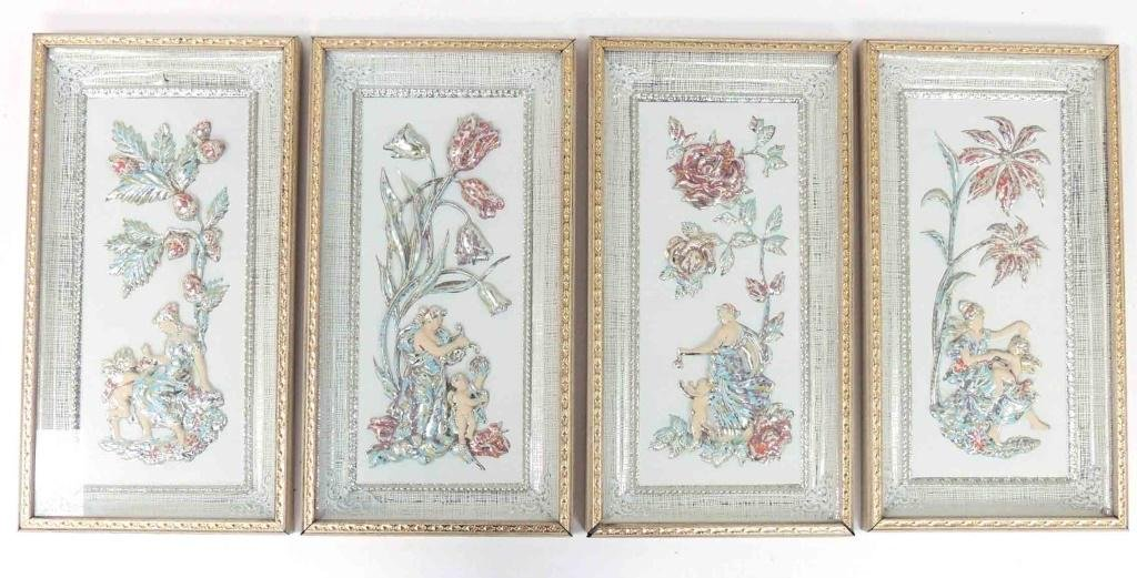 Lot of 4 - Seasons, Framed, Metalcraft Corp.,