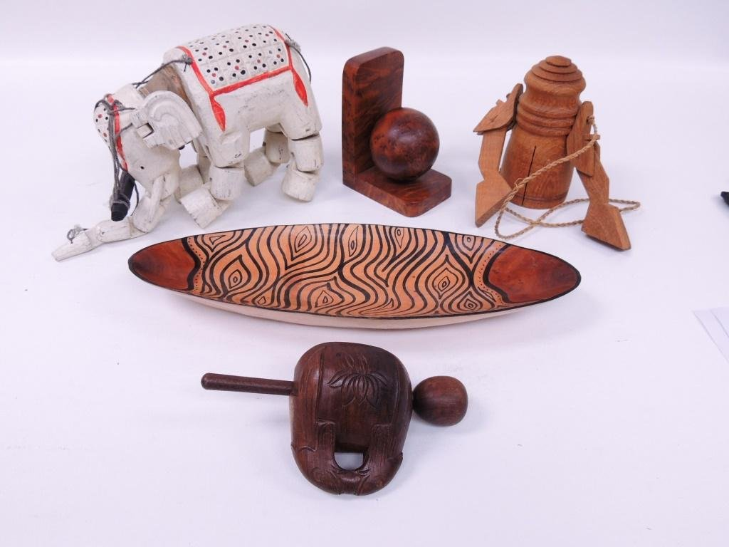 Carved Wood Lot, Including Elephant & Instruments