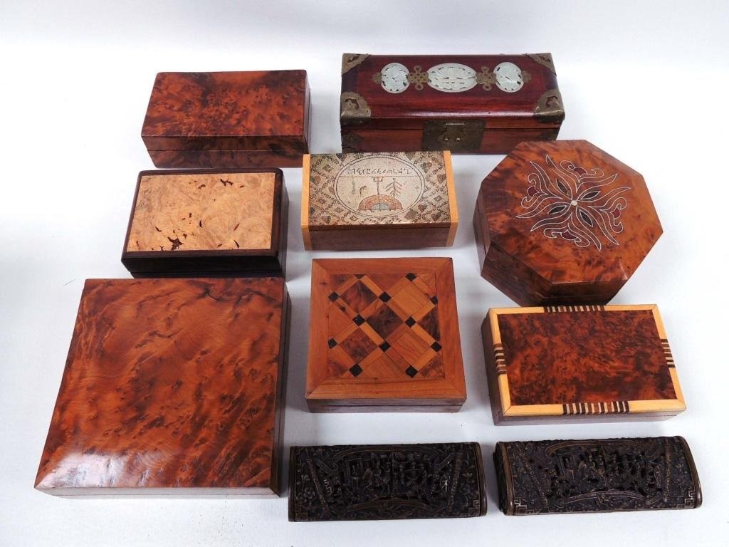 Inlaid and Carved Trinket / Dresser Boxes