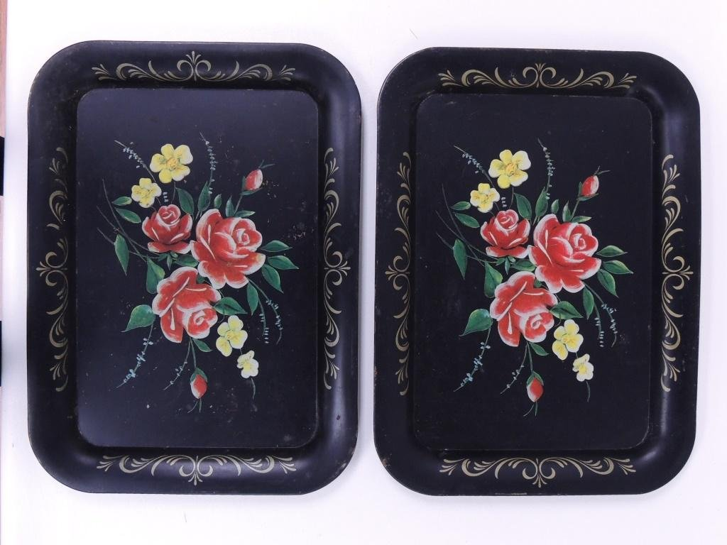 2 Metal Floral Trays
