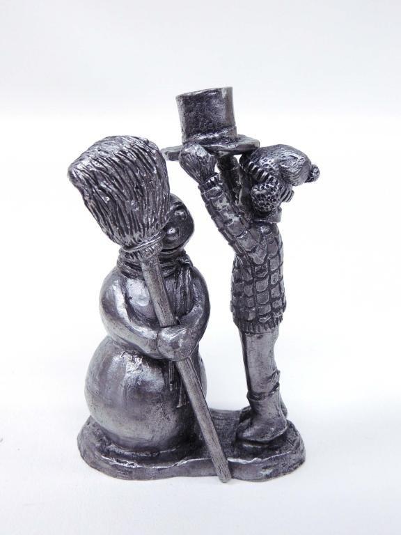 """Pewter Sculpture, Michael Ricker, """"Snowman"""""""