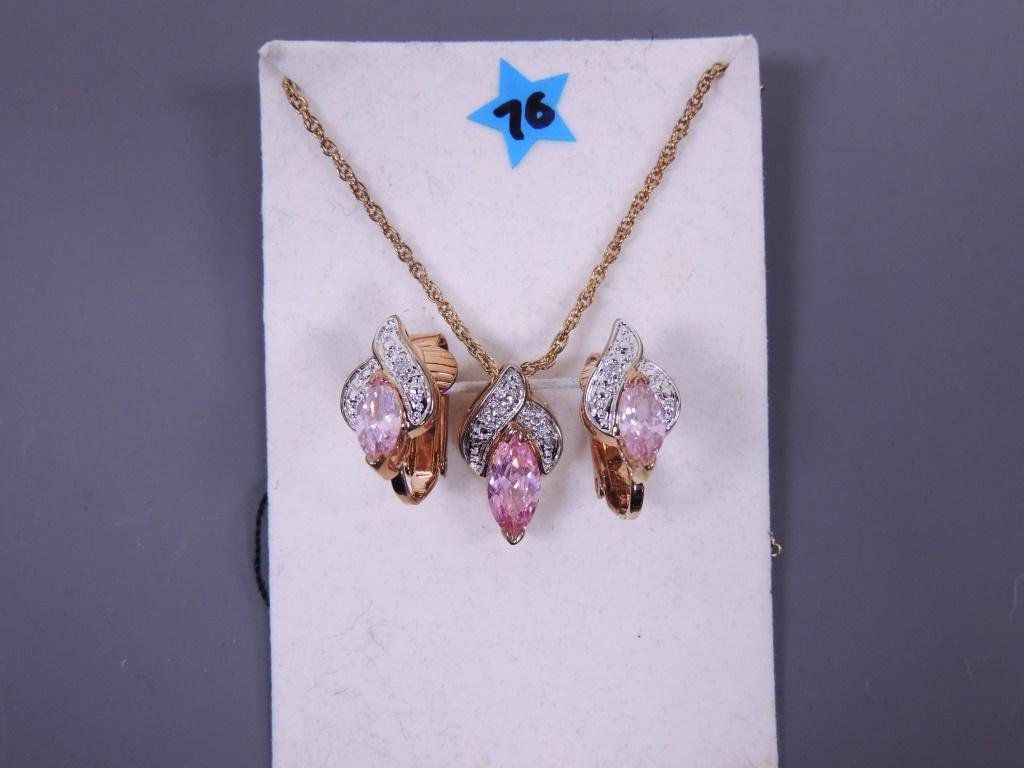 Pink Topaz Necklace & Clip Earrings
