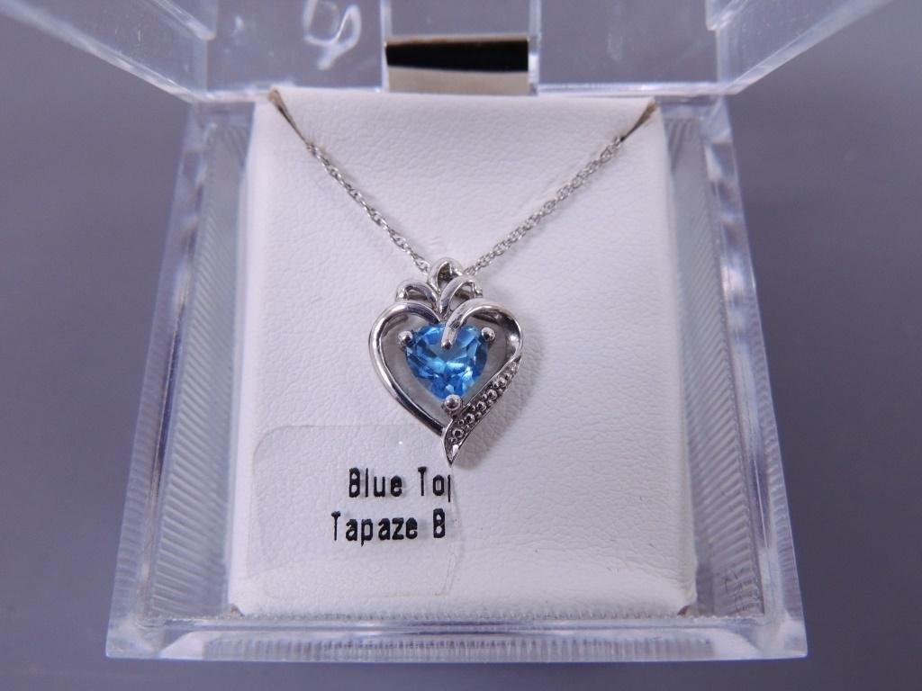 Blue Topaz Necklace & Heart Necklace/Earring Set
