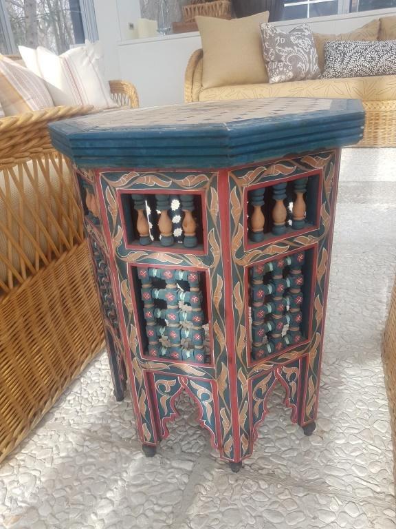 Octagonal Wood Table, Mosaic Tile Top