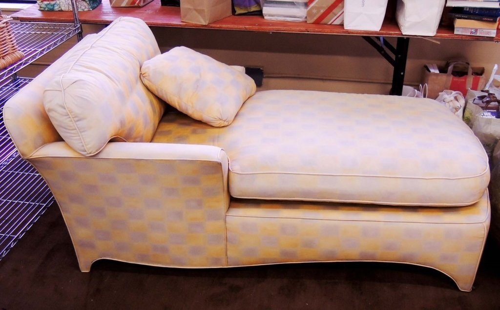 Chaise Lounge Upholstered - Ivory and Yellow