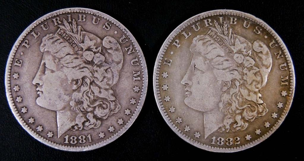 1881 and 1882-s Morgan silver dollars (2)