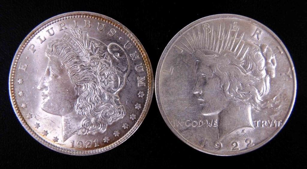 1921 Morgan & 1922-d Peace silver dollars (2)