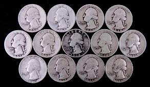 1930s Washington silver quarters (13)