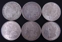 Morgan silver dollars (6)