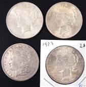 (3) Peace and (1) Morgan silver dollars