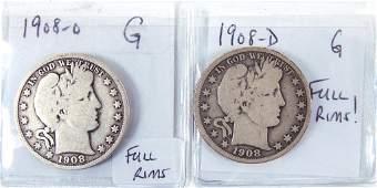 1908-o and 1908-d Barber half dollars (full rims) (2)