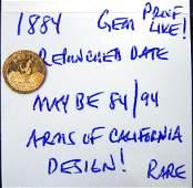 1884 Cal. Gold Arms of California Round Quarter