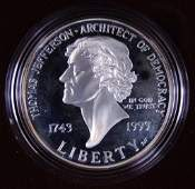 1993-s Proof Thomas Jefferson Silver Dollar
