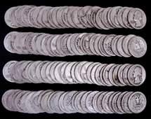 1940's Washington Silver Quarters (100)