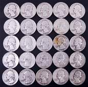 Late 1940's Washington Silver Quarters (25)