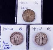 (3) Standing Liberty Quarters - Date Set 1927