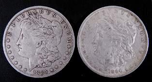 1885 - o & 1890 - o Morgan Silver Dollars (2)