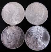 Silver Eagle, 2 Morgans & Peace Dollar