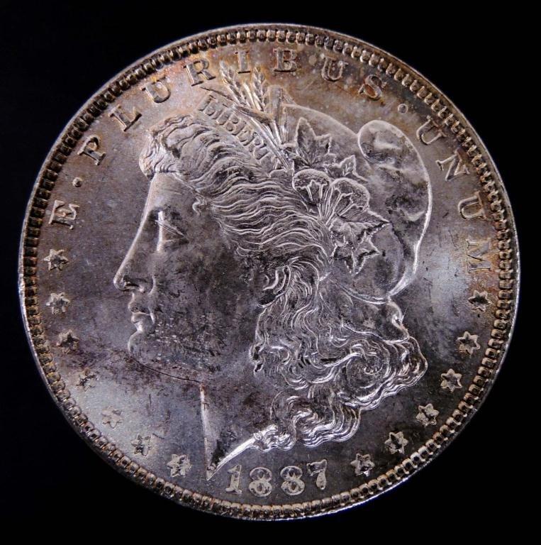 1887 Morgan Silver Dollar (Toned, Choice BU?)