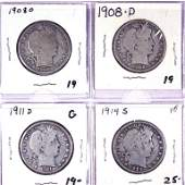 Barber Silver Half Dollars (4)