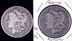 1899-o & 1901-o Morgan Silver Dollars (2)