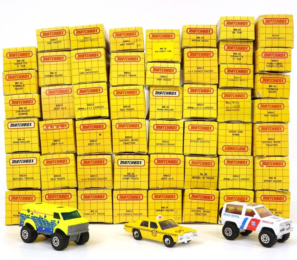 Assortment of 50 Vintage Die-Cast Matchbox Cars