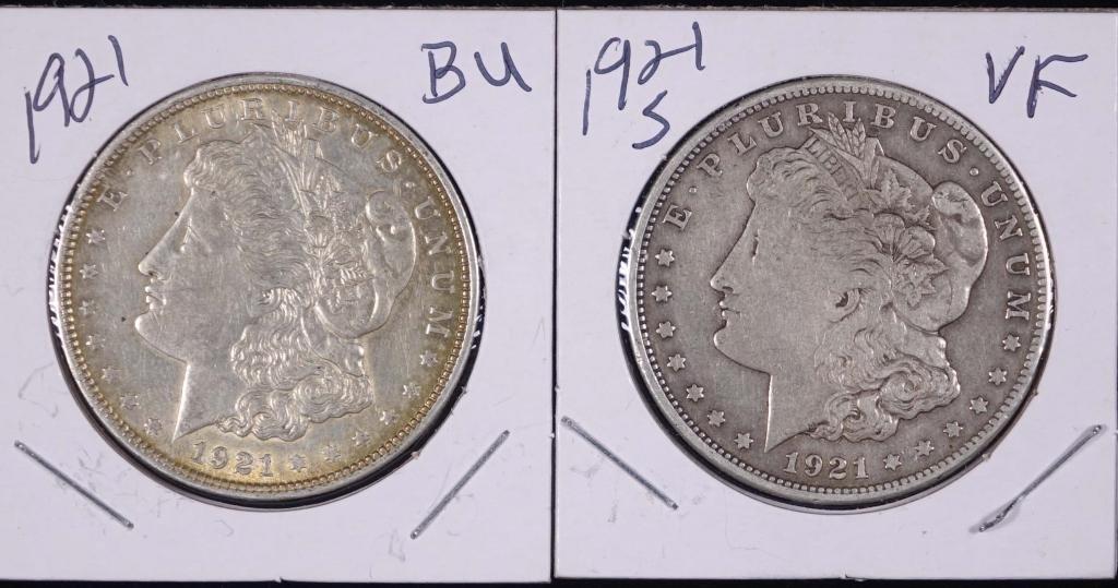 1921 & 1921-s Morgan Silver Dollars (BU/VF?)