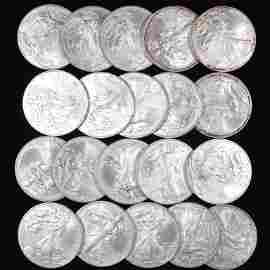 2012 BU Silver Eagle Bullion Coin Roll (20)