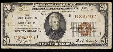 1929 - $20 National Currency Note (Minneapolis)