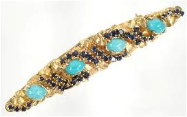 14k Gold Brooch w/ Sapphires & Turquoise