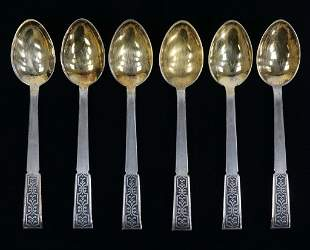 Russian Sterling Silver Spoons, Gold Wash