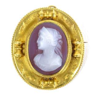 18K Gold Mourning (?) Cameo