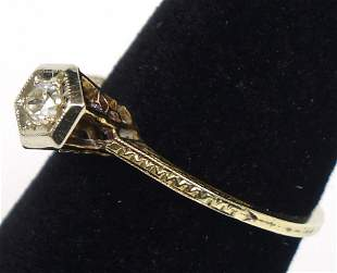 14k Gold Ring, .25 Carat Diamond