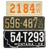 3 Antique / Vintage License Plates