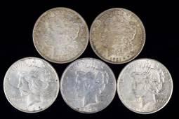 Silver Dollars (5) - 2 Morgans, 3 Peace Dollars