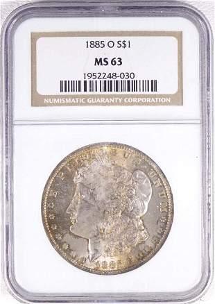 1885-o Morgan Silver Dollar (NGC MS63 Toning)