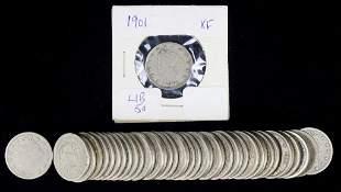1901 Liberty Nickel (XF?) & 40 Assorted Nickels