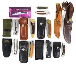 Assortment Of (12) Hunting & Pocket Knives