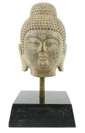 20th C. Stone Carved Buddha Head