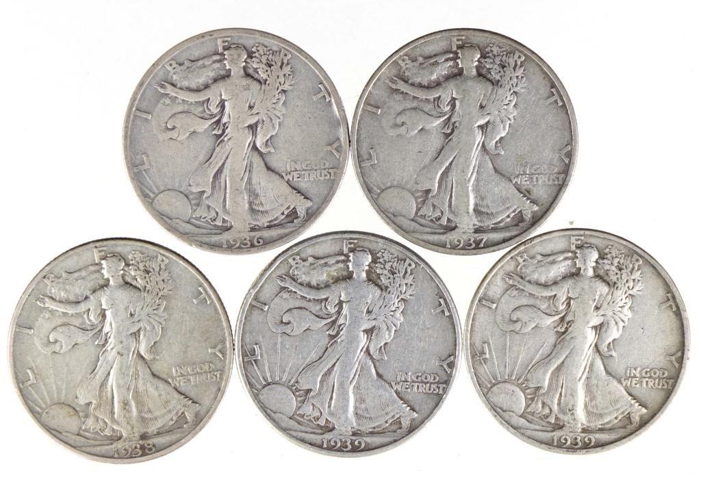 Walking Liberty Half Dollars (5)