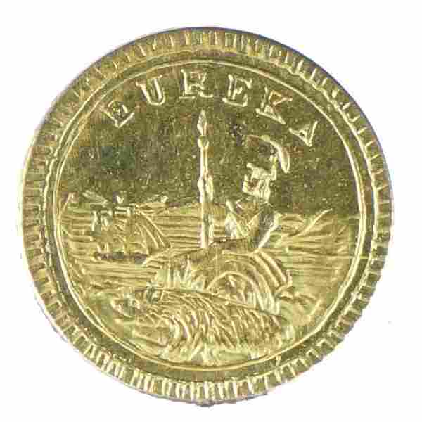 1884 Arms of California Round Gold Charm