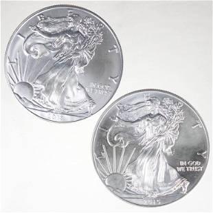 2015 & 2018 BU Silver Eagle Bullion Coins